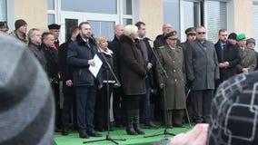Sokolovo village, Kharkiv region, Ukraine - 9 March 2018: Speech of the Minister of Defense of the Czech Republic Karla. Shlekhtova. Anniversary of the battle stock video footage