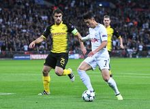 Sokratis Papastathopoulos and Heung-Min Son. Football players pictured during the UEFA Champions League Group H game between Tottenham Hotspur and Borussia Stock Photo