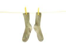 Soks na linha de roupa Imagem de Stock