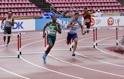 SOKWAKHANA ZAZINI od PO?UDNIOWA AFRYKA wygrany z?ota na 400 metres przeszkodach w IAAF ?wiatowym U20 mistrzostwie zdjęcia stock
