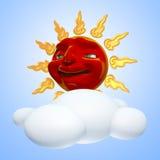 sol 3D e nuvem ilustração stock
