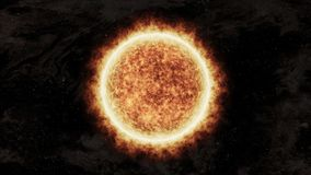 Sol alaranjado brilhante e quente no espaço ilustração do vetor