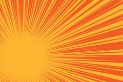 Sol amarelo em um fundo vermelho, fundo cômico do pop art ilustração royalty free