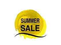 Sol amarillo con la onda del mar Símbolo del sol del grunge de la acuarela Etiqueta de la oferta del verano Símbolo de la venta P Imagenes de archivo