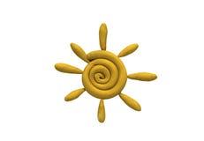 sol amarillo hecho del plasticine brillante de los niños en un fondo blanco Fotografía de archivo libre de regalías