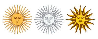 Sol av Maj variationer, Sol de Mayo, Argentina, Uruguay royaltyfri illustrationer