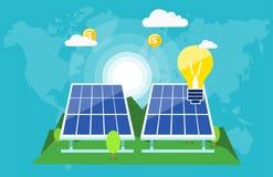 Sol- batterier som ändrar den sparande planeten vektor illustrationer