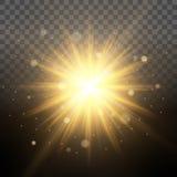 Sol- belysningsimulering av gryning, upplysta glänsande strålar, genomskinlig bakgrund för linseffektglöd Lätt att ändra backgen Royaltyfria Foton