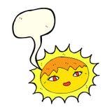 sol bonito dos desenhos animados com bolha do discurso Imagem de Stock Royalty Free