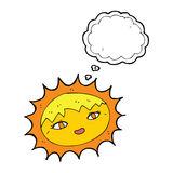sol bonito dos desenhos animados com bolha do pensamento Fotografia de Stock