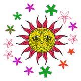 Sol brillante con las flores para un buen humor Imagen de archivo