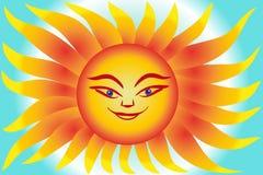 Sol brillante en un fondo azul Imágenes de archivo libres de regalías