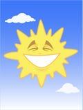 Sol brillante sonriente en el cielo azul Stock de ilustración