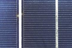 Sol- cel-panelslut upp, detalj Fotografering för Bildbyråer