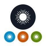 Sol con los rayos, ejemplo del icono del vector Imagen de archivo