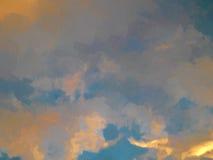 Sol da pintura a óleo que ajusta o céu alaranjado com nuvens imagem de stock royalty free