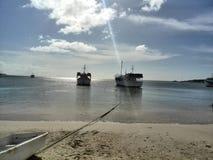 Sol da tarde na baía da ilha de Juan Griego Margarita fotografia de stock