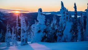 Sol de ajuste sobre montanhas nevado e árvores imagens de stock