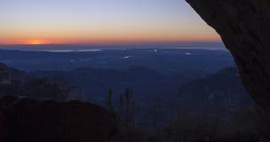 Sol de aumentação sobre Delta del Ebre Imagem de Stock Royalty Free