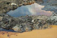Sol de contamination et pollution par les hydrocarbures de trace d'eau, déchets toxiques d'ancienne décharge, nature d'effets de  photos libres de droits