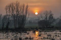 Sol de la última tarde sobre el valle de la prueba Fotografía de archivo