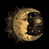 Sol de la luna de la alquimia ilustración del vector