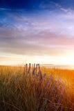 Sol de la mañana en la cerca y las dunas viejas Fotos de archivo libres de regalías