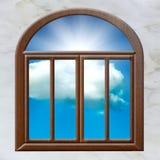 Sol de la nube de la ventana abierta Imagen de archivo
