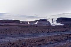Sol de Manana Geothermal活动区域Altiplano玻利维亚 库存照片