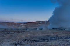 Sol de Manana Geothermal活动区域Altiplano玻利维亚 免版税库存图片
