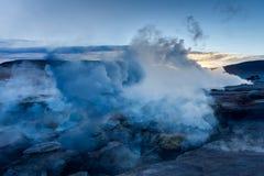 Sol de Manana Geothermal活动区域Altiplano玻利维亚 免版税图库摄影