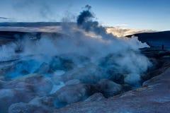 Sol de Manana Geothermal活动区域Altiplano玻利维亚 免版税库存照片