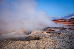 Sol de manana geothermal field in sud Lipez reserva, Bolivia Royalty Free Stock Images