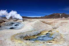 Sol de manana geyser field, Bolivia Stock Photos