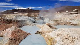 Sol de Manana geysers and geothermal area in the Andean Plateau in Bolivia stock photo