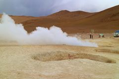 Sol de Manana or the Morning Sun Geothermal Area in Sur Lipez Province, Potosi Department of Bolivia, South America stock photography