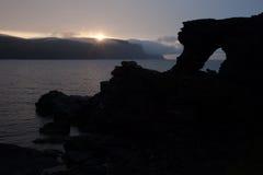 Sol de medianoche de Nordkapp Fotos de archivo