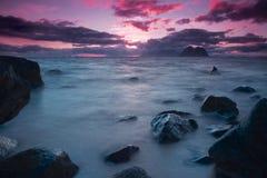 Sol de medianoche en Noruega Foto de archivo libre de regalías