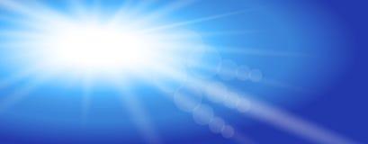 Sol del cielo Dise?o del ejemplo del vector Los rayos ligeros de Sun estallaron el cielo azul Dise?o plano Fondo stock de ilustración