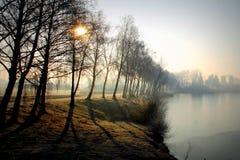 Sol del invierno por el lago Fotos de archivo