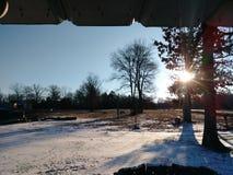 Sol del invierno que mira a escondidas adentro fotos de archivo