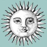 Sol dibujado mano con la cara ilustración del vector