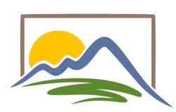 Sol do logotipo com montanhas Imagens de Stock