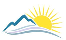 Sol do logotipo com montanhas Fotos de Stock