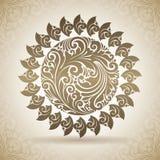 Sol do ornamental do vintage Ícone decorativo em um fundo com teste padrão Imagens de Stock Royalty Free
