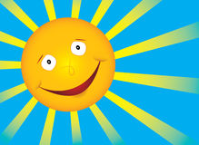 Sol do sorriso do vetor no céu azul Fotos de Stock Royalty Free