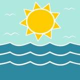 Sol do verão e ilustração do logotipo do mar Foto de Stock Royalty Free