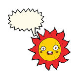 sol dos desenhos animados com bolha do discurso Imagens de Stock