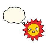 sol dos desenhos animados com bolha do pensamento Fotos de Stock Royalty Free
