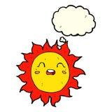 sol dos desenhos animados com bolha do pensamento Fotografia de Stock